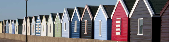 Beach huts in summer