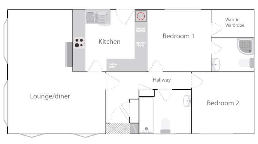 Floor Plan for Twin Unit Mobile Home for sale Berkshire